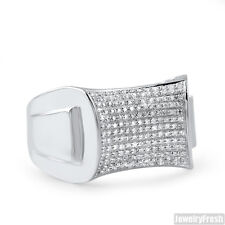 Sterling Silver Concave Pave 0.28 Carat Real Diamond Ring