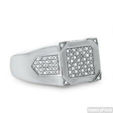 Sterling Silver Raised Diamond Pave Mens Ring 0.21 CTW