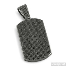 Blacked Out Fully Iced Micropave Dogtag Hip Hop Mens Pendant