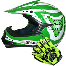 Leopard LEO-X17 Youth Junior Kids Motorbike Motocross MX Helmet Green+Gloves Set