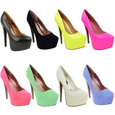 NEW WOMENS LADIES HIGH HEEL PLATFORM COURT SHOES SEXY STILLETO PARTY WEDGES SIZE