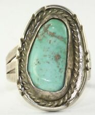 VINTAGE TALL LARGE STERLING SILVER TURQUOISE MENS RING SIZE  14