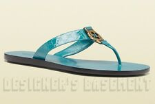 GUCCI teal 36.5 Patent GUCCISSIMA GG buckle THONG flats sandals NIB Authentic!