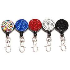 Rhinestone Bling Crystal Lanyard ID Badge Cell Phone Retractable Reel Holder -LD