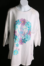TOTAL GIRL PLUS SIZE WHITE FLORAL AND PEACE SHIRT MEDIUM, LARGE, EXTRA LARGE NWT