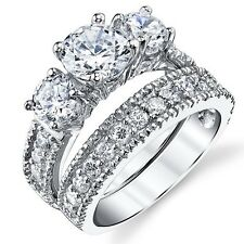 Sterling Silver Past Present Future 2-Pc Bridal Set Engagement Wedding Ring Ban