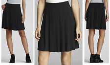 $138 Eileen Fisher Viscose Jersey Petite Short Pleated Black Skirt PL
