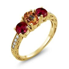 2.12 Ct Oval Ecstasy Mystic Topaz Red Created Ruby 18K Yellow Gold Ring