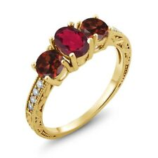 2.02 Ct Oval Red Mystic Topaz Red Garnet 18K Yellow Gold Plated Silver Ring