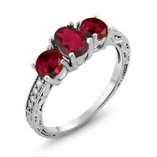 2.12 Ct Oval Red Mystic Topaz Red Created Ruby 18K White Gold Ring