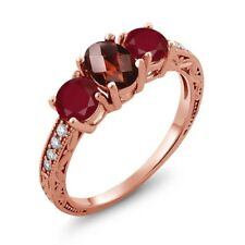2.02 Ct Oval Checkerboard Red Garnet Red Ruby 18K Rose Gold Plated Silver Ring