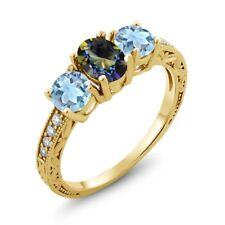 1.92 Ct Oval Blue Mystic Topaz Sky Blue Topaz 18K Yellow Gold Plated Silver Ring