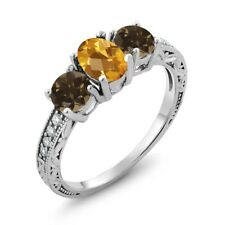 1.74 Ct Oval Checkerboard Yellow Citrine Brown Smoky Quartz 14K White Gold Ring