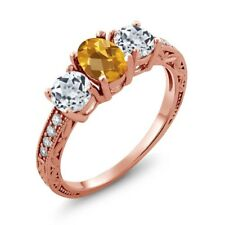 1.82 Ct Oval Checkerboard Yellow Citrine White Topaz 18K Rose Gold Ring