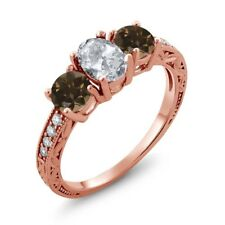 1.99 Ct Oval White Topaz Brown Smoky Quartz 18K Rose Gold Plated Silver Ring