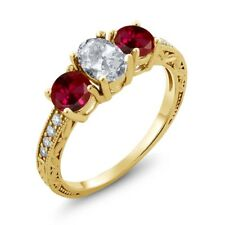 2.27 Ct Oval White Topaz Red Created Ruby 18K Yellow Gold Plated Silver Ring