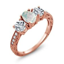 1.75 Ct Oval White Simulated Opal White Topaz 18K Rose Gold Plated Silver Ring