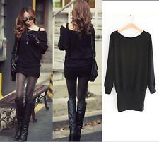 Womens Mini Dress Sexy Casual Loose Batwing Sexy Knit Jumper Pullover Black