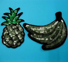 2 Patch Sequins Sew on Patch Applique Badge Embroidered Fruit Banana Pineapple
