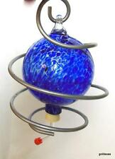 Blue Glass Hummingbird Nectar Feeder with Coiled Wire New Feeding Tube 8""