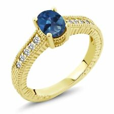 1.17 Ct Oval Royal Blue Mystic Topaz White Sapphire 14K Yellow Gold Ring