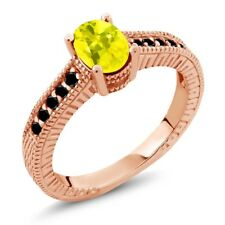 1.28 Ct Oval Canary Mystic Topaz Black Diamond 18K Rose Gold Plated Silver Ring