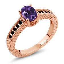 1.08 Ct Oval Purple Amethyst Black Diamond 18K Rose Gold Plated Silver Ring