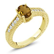 1.10 Ct Oval Whiskey Quartz White Topaz 18K Yellow Gold Plated Silver Ring