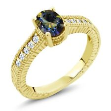 1.35 Ct Oval Blue Mystic Topaz White Created Sapphire 14K Yellow Gold Ring