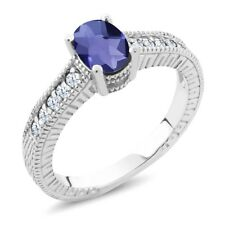 1.05 Ct Oval Checkerboard Blue Iolite White Created Sapphire 14K White Gold Ring