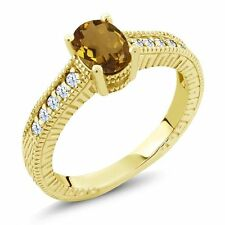 1.10 Ct Oval Champagne Quartz White Topaz 18K Yellow Gold Plated Silver Ring