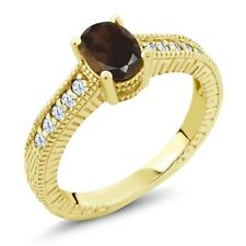 1.15 Ct Oval Brown Smoky Quartz White Created Sapphire 18K Yellow Gold Ring