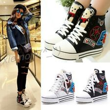 Womens Ankle Boot High-Top Girls Lace Up Bear Wedge Heels Sneaker Sport Shoes Sz