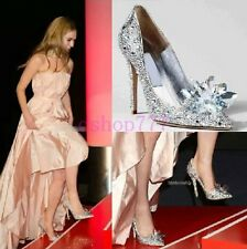 Women Rhinestone Pointy Toe Stiletto Bling Princess Crystal Beautiful Shoes Size