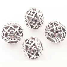 Wholesale 10/20Pcs Tibetan Silver Round Big Hole Hollow Out Loose Spacer Beads
