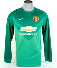 Nike Dri Fit Manchester United Green Long Sleeve Football Soccer Jersey Mens NWT