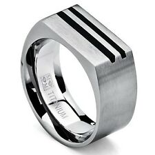 Men's Bold Titanium Pinky Ring Bands with Resin Inlay, Brushed Finish Comfort F
