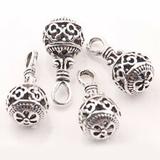 10/20Pcs Tibetan Silver Hollow Out Round Charm Clover Pattern Pendants 20*10mm