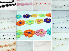 1Yd Beautiful Off Colorful Fabric Lace Flower Applique Trims Sewing