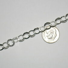 WHOLESALE LOTS 8mm Flat HAMMERED Chain 925 Sterling Silver BULK by the foot