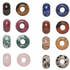 European Charm Style 14mm x 8mm Natural Gemstone Rondelle Bead with 5mm Hole