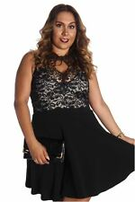 121AVENUE Floral Lace Front Keyhole Dress 1X 2X 3X Women Plus Size Black