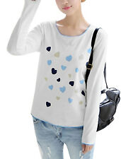 Women Hearts Pattern Contrast Patched Detail Long Sleeves Casual Top
