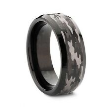 8mm Bevel Edge Tungsten Carbide Black Hunting Camouflage Wedding Band Camo Enga