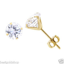 Conventional Round Brilliant Cut CZ Stud Earrings Real Solid 14K Yellow Gold