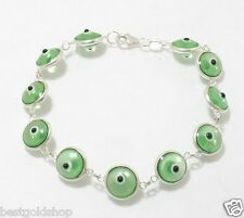 Clear Green Greek Mati Evil Eye Bead Charm Bracelet Genuine 925 Sterling Silver