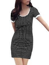 Stretchy Pullover Stripes Two Tone Summer Mini Dress for Lady