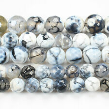 "Faceted Fire Agate 6-14mm Round Loose Beads 15""(ag362)"