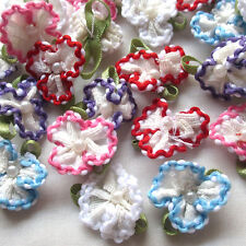 5/20PCS Satin Ribbon Flowers Bows W/beads Appliques Wedding Decor Lots Mix