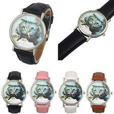 Womens Cute Cat Dial Style Analog Quartz Watch Casual Leather Band Wrist Watches